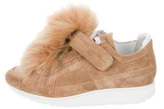 Pierre Hardy Suede Fur-Embellished Sneakers w/ Tags