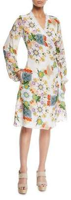 Verandah Printed Blouson-Sleeve Coverup Wrap Dress with Fringe
