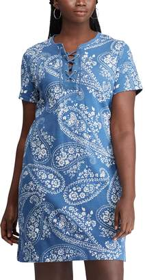 Chaps Plus Size Lace-Up Dress