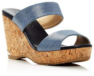 Jimmy Choo Women's Parker 100 Denim Cork Wedge Slide Sandals