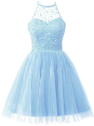 5ac8127c29a Cdress Homecoming Dresses Short Tulle Cocktail Prom Gowns Junior Evening  Party Dress Halter Beads US