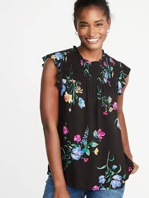 Old Navy Floral-Print Smocked-Yoke Flutter-Sleeve Blouse for Women