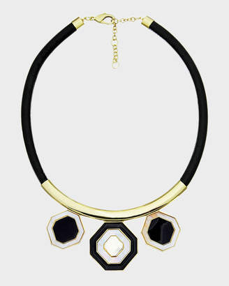 MOP Octagonal Short Leather Necklace