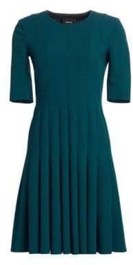 Akris Elbow Sleeve A-Line Pleat Dress