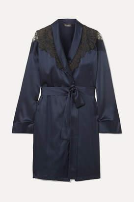 I.D. Sarrieri Embroidered Tulle-trimmed Silk-blend Satin Robe - Navy