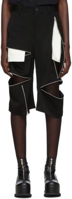 Comme des Garcons Black Wool Doeskin Zip Shorts