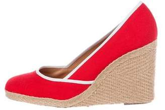 Sergio Rossi Woven Canvas Wedges