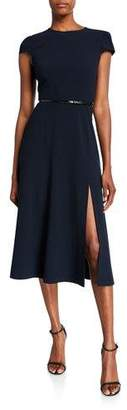 Elie Tahari Miciela Cap-Sleeve Belted Dress with Slit