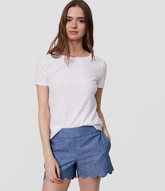 Scalloped Chambray Shorts $59.50 thestylecure.com