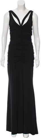 Vera Wang Vera Wang Ruched Evening Dress