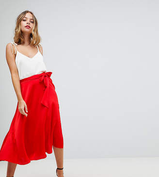 Asos DESIGN Petite satin midi skirt with self belt