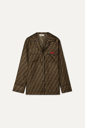 Fendi Embroidered Printed Silk-satin Shirt - Tan