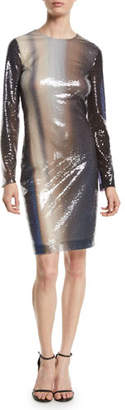 Roberto Cavalli Long-Sleeve Degrade Liquid-Paillette Cocktail Dress