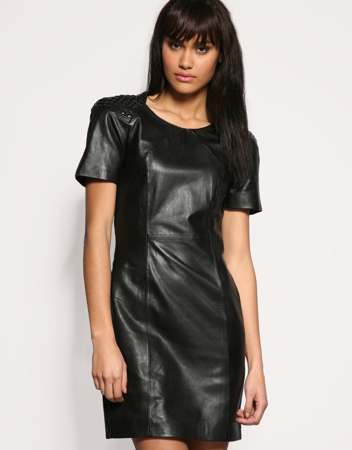 Oasis Studded Shoulder Leather Dress