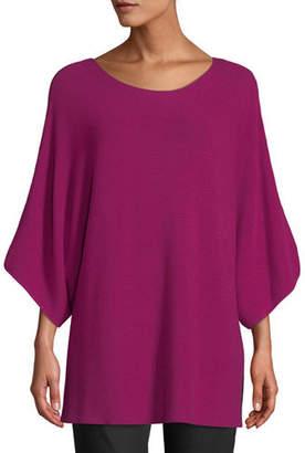 Eileen Fisher Bateau-Neck 3/4-Sleeve Ribbed Merino Wool Sweater