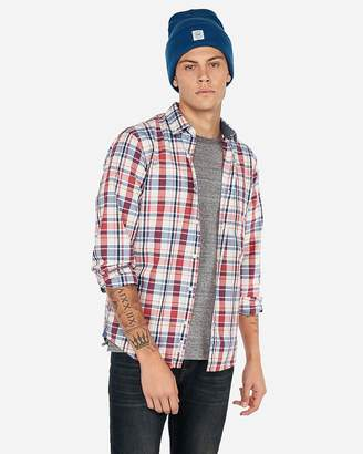 Express Slim Plaid Button-Down Shirt