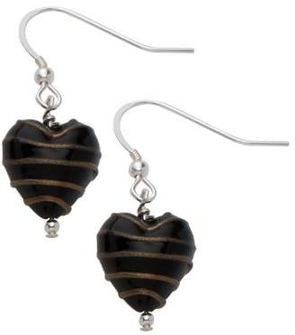 Glass Heart Bellissi Murano Venezia Small Murano Black Drop Earrings