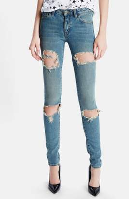 Saint Laurent 'Dirty 50s' Destroyed Skinny Jeans