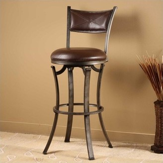 """Hillsdale Furniture Drummond 30"""" Swivel Bar Stool in Rubbed Pewter"""