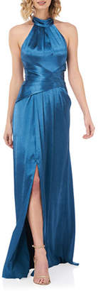 Kay Unger New York Simone Liquid Shine Halter Gown with Twist Front Waist