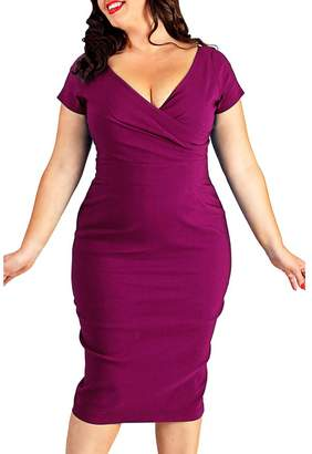 9cfa1d0c29 Sugarwewe Sexy Plus Size Deep V Short Sleeve Pencil Dress Casual Midi Dress  Plus