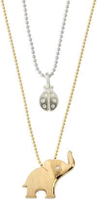 Alex Woo Little Luck Elephant & Ladybug Necklace, Two-Tone
