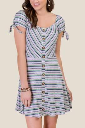 francesca's Piper Button Front Dress - Lavender