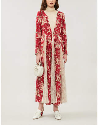 RED Valentino Floral-print lace-insert silk-crepe maxi dress