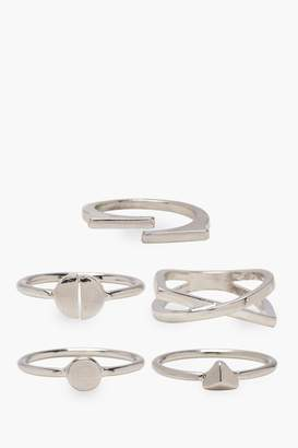 boohoo Plus Lucy 5 Pack Silver Ring Set