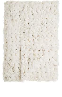 Adrienne Landau Crocheted Rabbit Fur Throw - White
