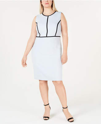 3289db49dc6 Kasper Plus Size Contrast-Piping Sheath Dress