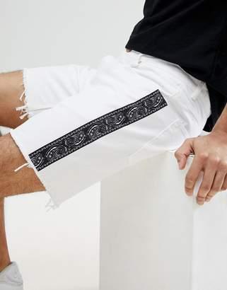 Asos DESIGN Denim Shorts In Slim White With Side Stripe