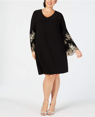 MSK Plus Size Embroidered-Sleeve Dress