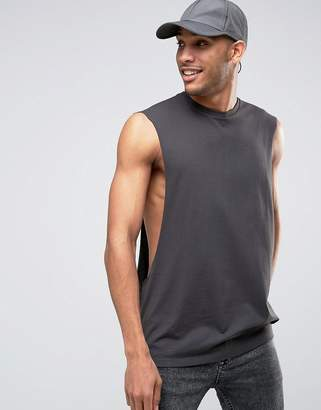 Asos Oversized Sleeveless T-Shirt With Extreme Dropped Armhole In Washed Black