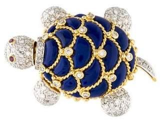 Lapis 18K Ruby, Lazuli & Diamond Turtle Brooch