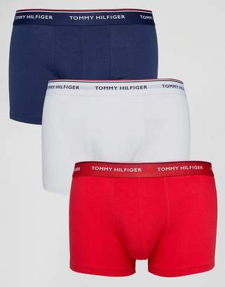Tommy Hilfiger Stretch 3 Pack Trunks In White/Red/Navy