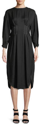 REJINA PYO Maya High-Neck Open-Back Linen-Blend Midi Dress