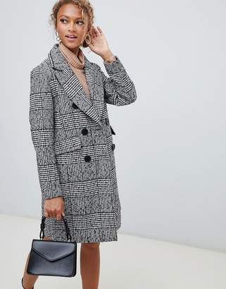 New Look double breasted coat in check