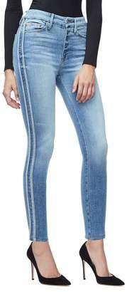 Ga Sale Good Waist Athletic Stripe Jeans - Blue121
