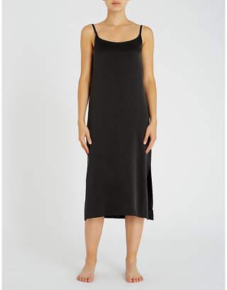 Asceno Scoop neck silk-satin slip dress