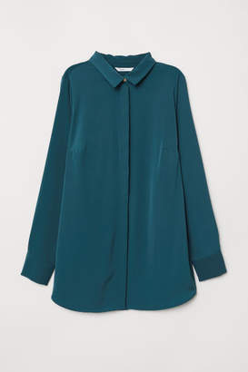 H&M MAMA Long-sleeved Blouse - Turquoise