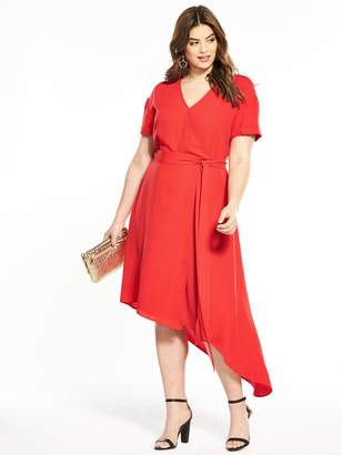 V by Very Curve Asymmetric Hem Wrap Dress