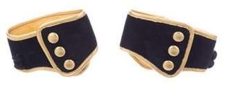 Prada Velvet & Metallic Leather Ankle Cuffs