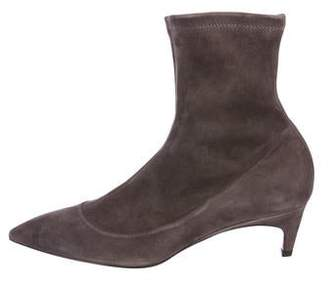 Santoni Suede Pointed-Toe Ankle Boots
