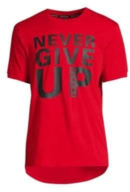 Black Barrett Never Give Up Text Crewneck T-Shirt