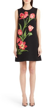 Dolce&Gabbana Embroidered Tulip Stretch Wool Shift Dress $4,595 thestylecure.com