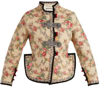 Gucci Floral Print Quilted Jacket - Womens - White Print