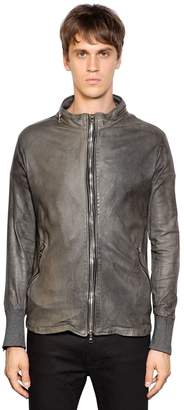 Giorgio Brato Zip-Up Washed Leather Moto Jacket