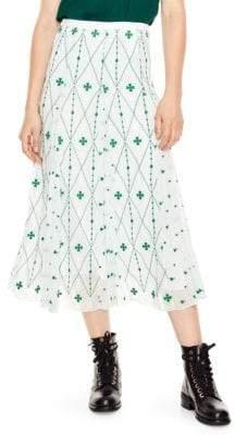 Sandro A-Line Print Midi Skirt