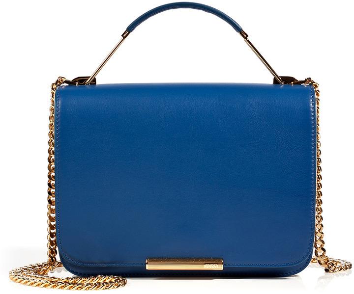 Emilio Pucci Leather Accordion Satchel in Ocean Blue-Multi